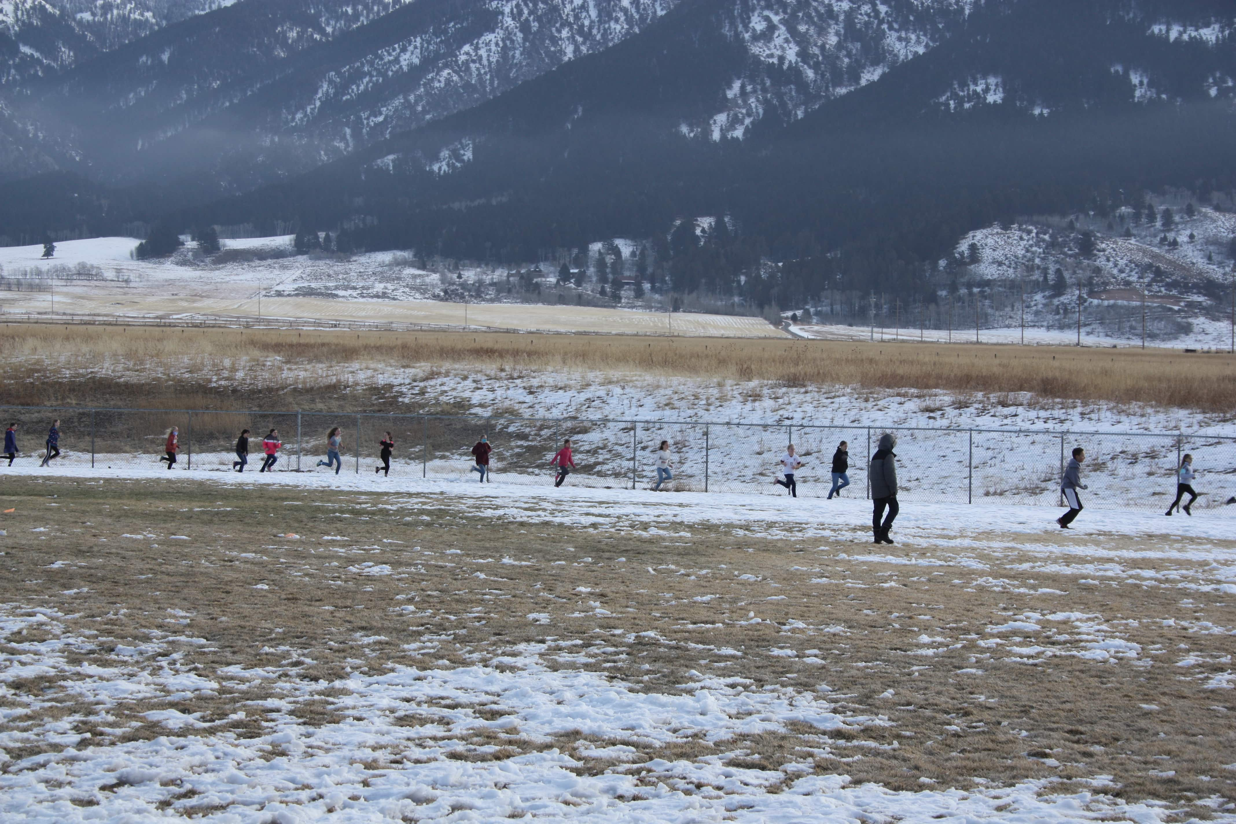 Distant view of the turkey trot in progress