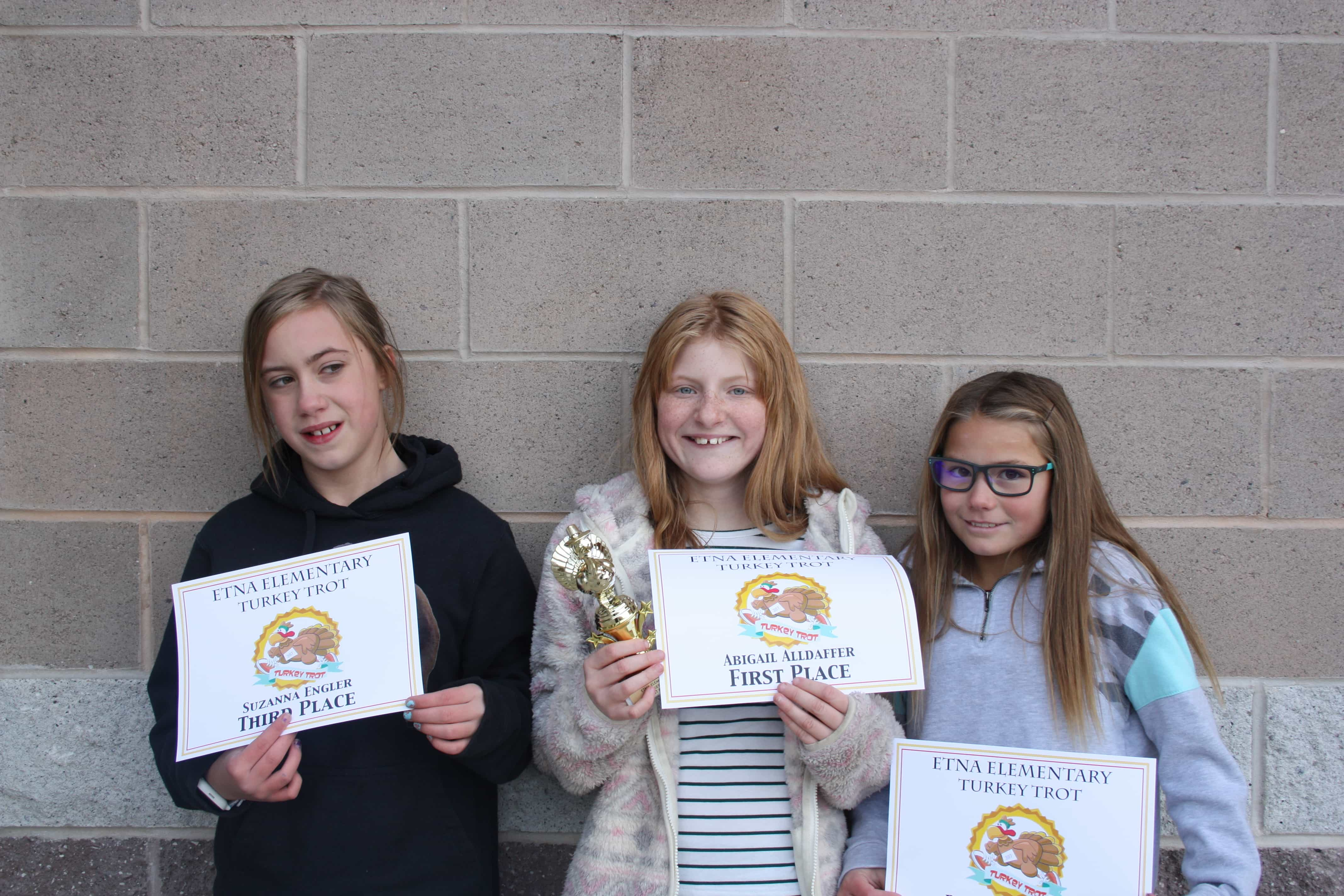 Turkey Trot Winners - Abigail, Ridglynn, Zanna